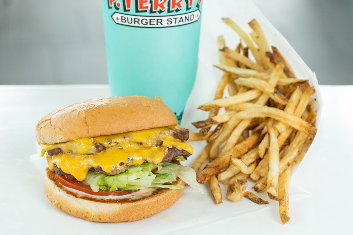 Cheeseburger, fries, and a drink from P. Terry's