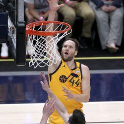 Utah Jazz forward Bojan Bogdanovic (44) shoots over San Antonio Spurs forward Drew Eubanks (14) during an NBA game at Vivint Smart Home Arena in Salt Lake City on Monday, May 3, 2021. The Jazz won 110-99.
