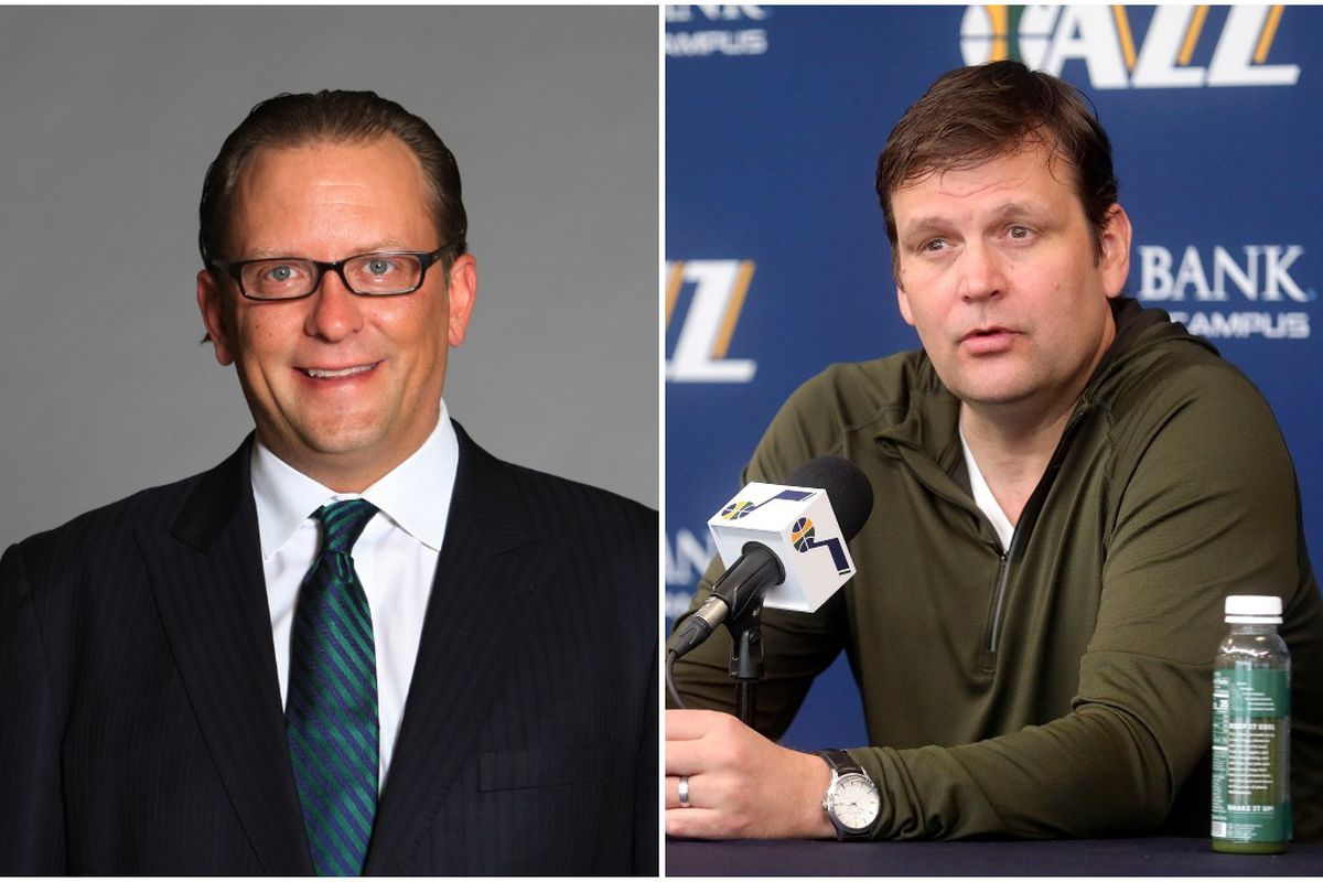 Utah Jazz promote Justin Zanik, left, to general manager and Dennis Lindsey to executive vice president.