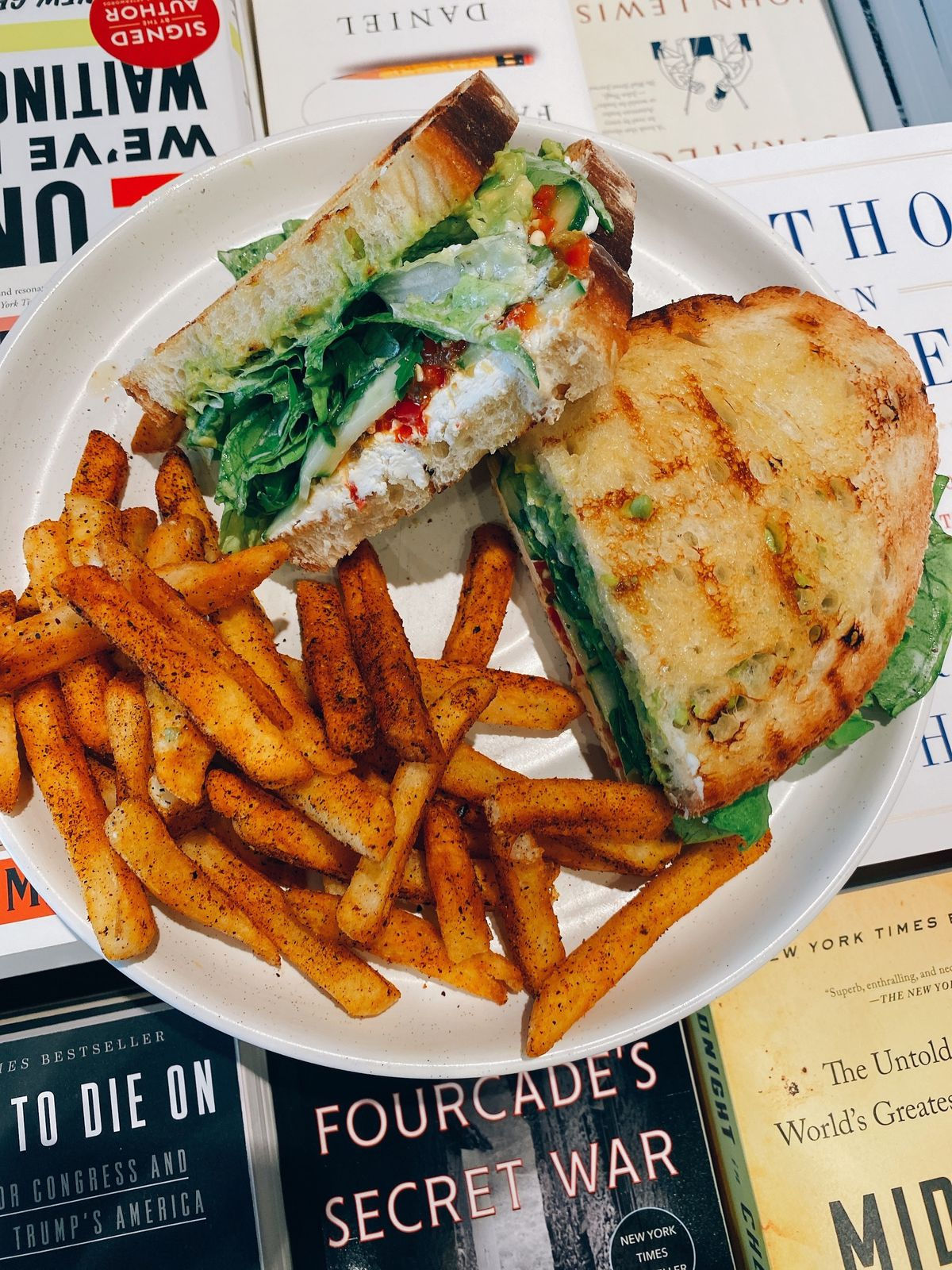 A vegtarian Cali Dagwood sandwich with goat cheese and cherry pepper relish from All Day