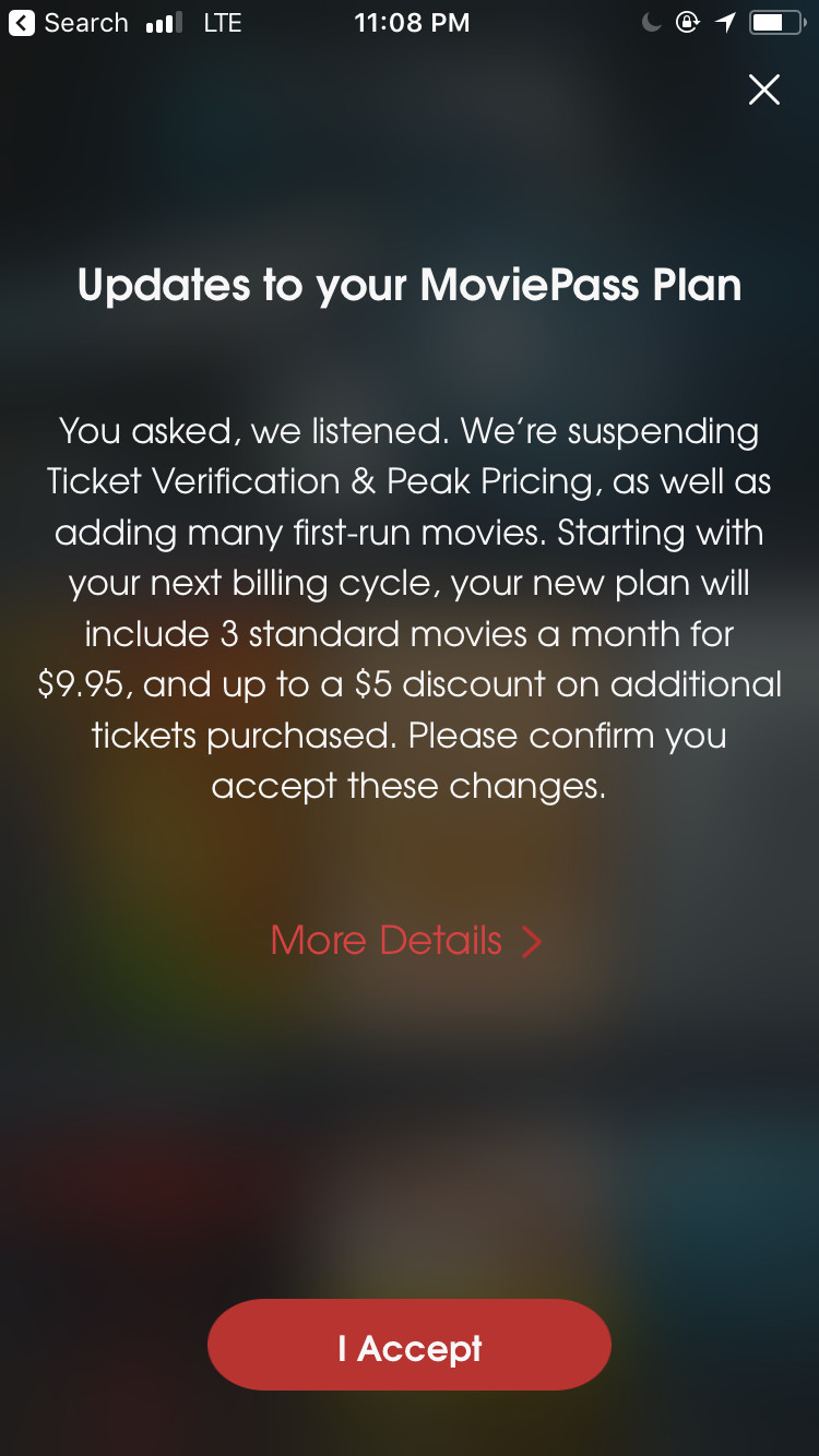 The opt-in page from the MoviePass app