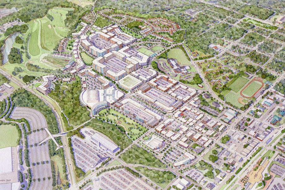 A rendering showing a potential mini city built around College Park, Georgia.