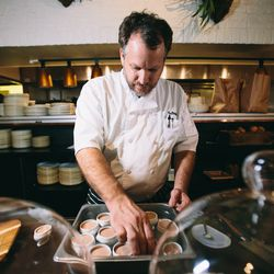 Chef Graham Dodds readies pots of sunchoke pâté, created in the style of a classic chicken liver mousse.