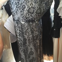 Black and white lace gown, $100