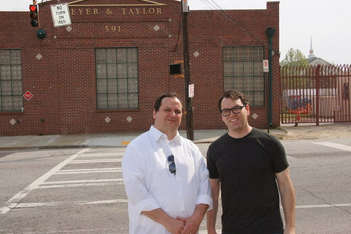 Ammazza owners Jason Connerty and Hugh Connerty across from the building they are transforming into Ammazza.