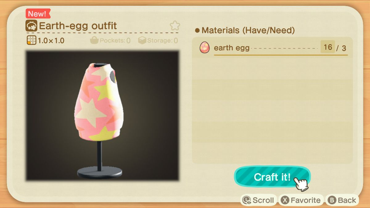 A crafting screen in Animal Crossing showing how to make a Earth-egg Outfit