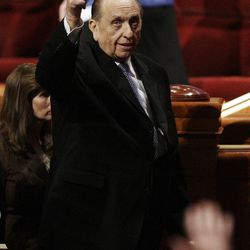 President Thomas S. Monson gives a thumbs up after  to the 182nd Annual General Conference for The Church of Jesus Christ of Latter-day Saints in Salt Lake City  Saturday, March 31, 2012.