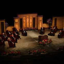 Church leaders gather in the Conference Center Theater for the Sunday morning session of the 190th Semiannual General Conference of The Church of Jesus Christ of Latter-day Saints on Oct. 4, 2020.