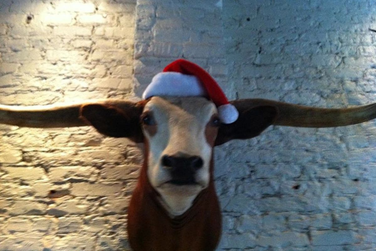 Festive decor at One Eared Stag.