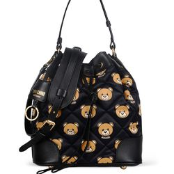 Moschino printed quilted nylon bucket bag, $895