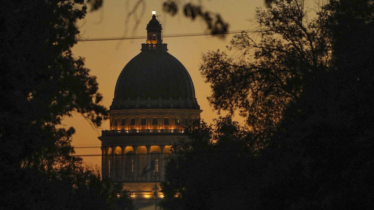 The Capitol lights match the color of the sunset in Salt Lake City on Tuesday, July 28, 2020.
