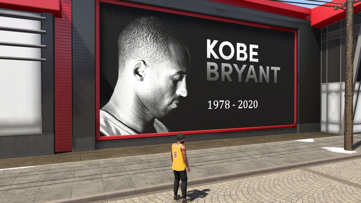 "an NBA 2K20 player in a No. 8 gold Lakers jersey stands in front of a billboard with a photo of Kobe Bryant that reads ""Kobe Bryant 1978-2020"""
