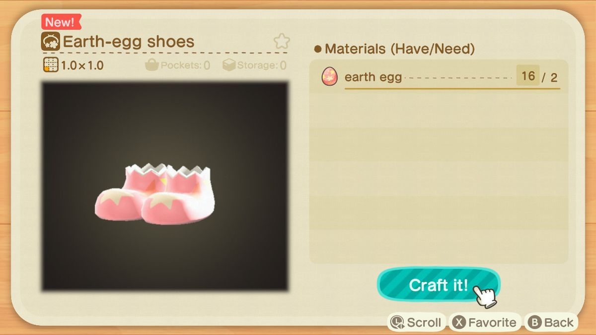 A crafting screen in Animal Crossing showing how to make a Earth-Egg Shoes