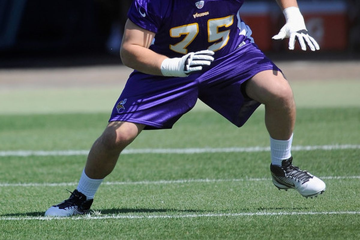 EDEN PRAIRIE, MN - MAY 4: Matt Kalil #75 of the Minnesota Vikings runs through a drill during a rookie minicamp on May 4, 2012 at Winter Park in Eden Prairie, Minnesota. (Photo by Hannah Foslien/Getty Images)