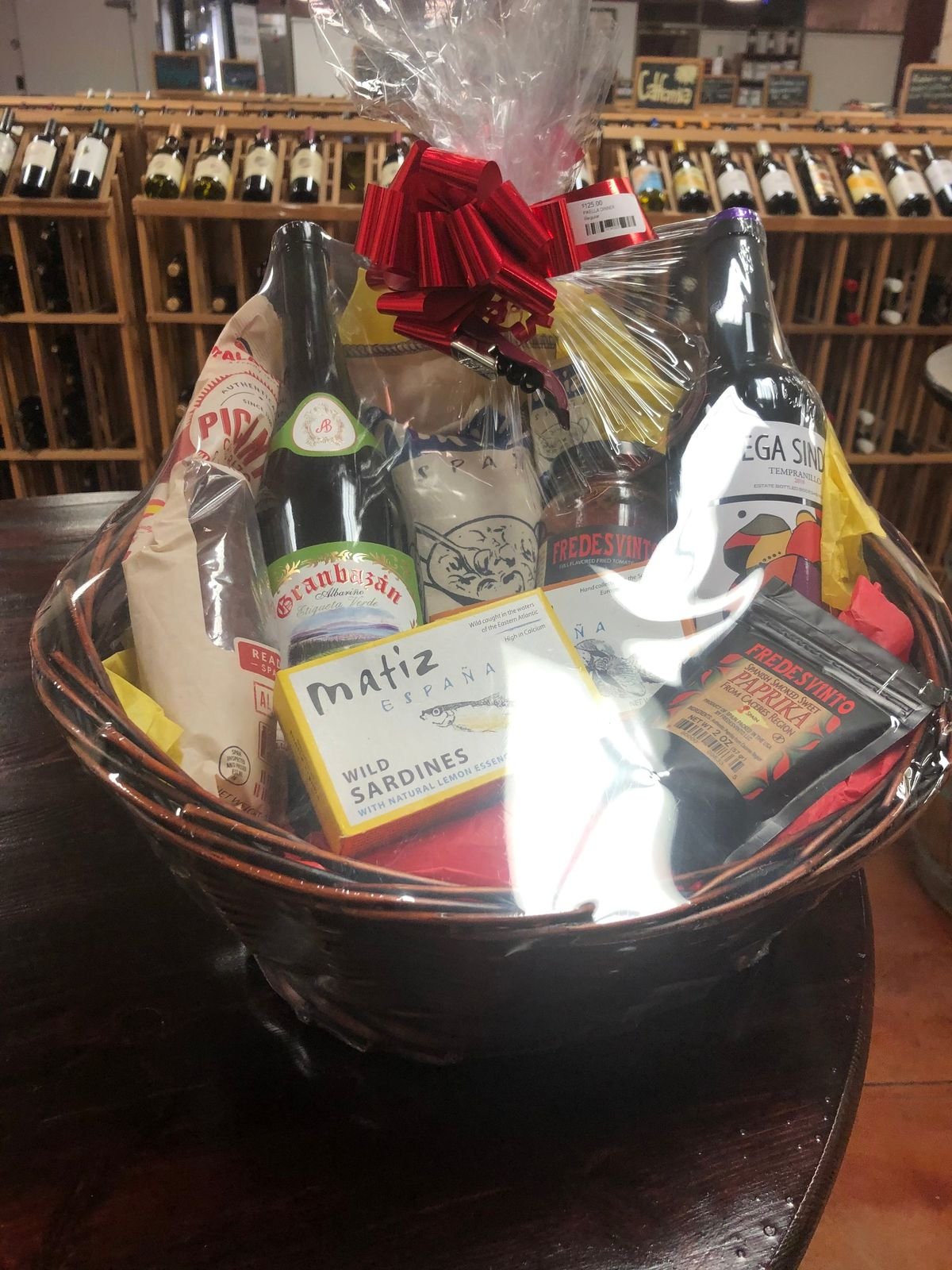 A basket filled with food gifts