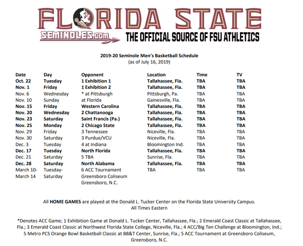 Uf Schedule 2020.Florida State Men S Basketball 2019 2020 Non Conference