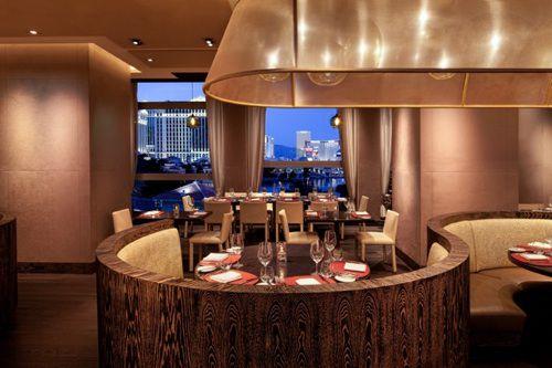 Restaurant interior with view of Las Vegas Strip
