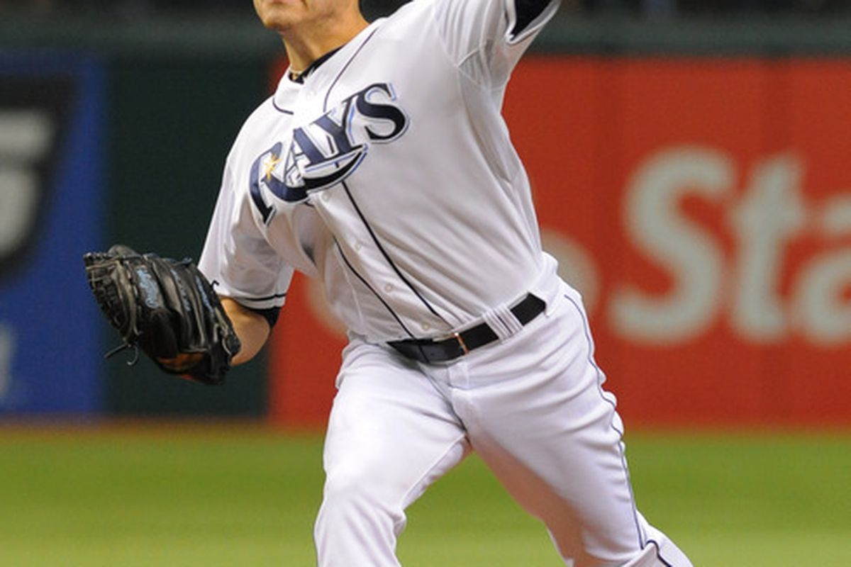 ST. PETERSBURG, FL - MAY 28:  Pitcher Matt Moore #55 of the Tampa Bay Rays starts against the Chicago White Sox May 28, 2012  at Tropicana Field in St. Petersburg, Florida.  (Photo by Al Messerschmidt/Getty Images)
