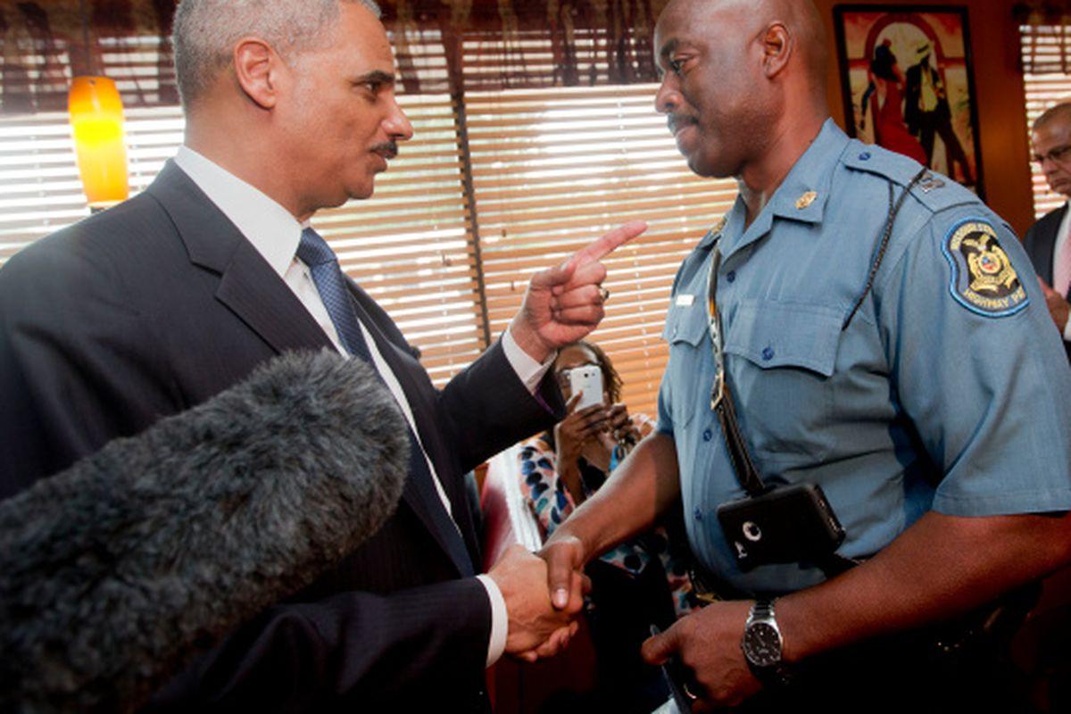 Eric Holder has some stern words for Missouri Highway Patrol Capt. Ron Johnson.