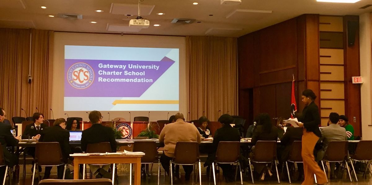 Board members had few questions about Gateway University during a district presentation on why the charter school should close.