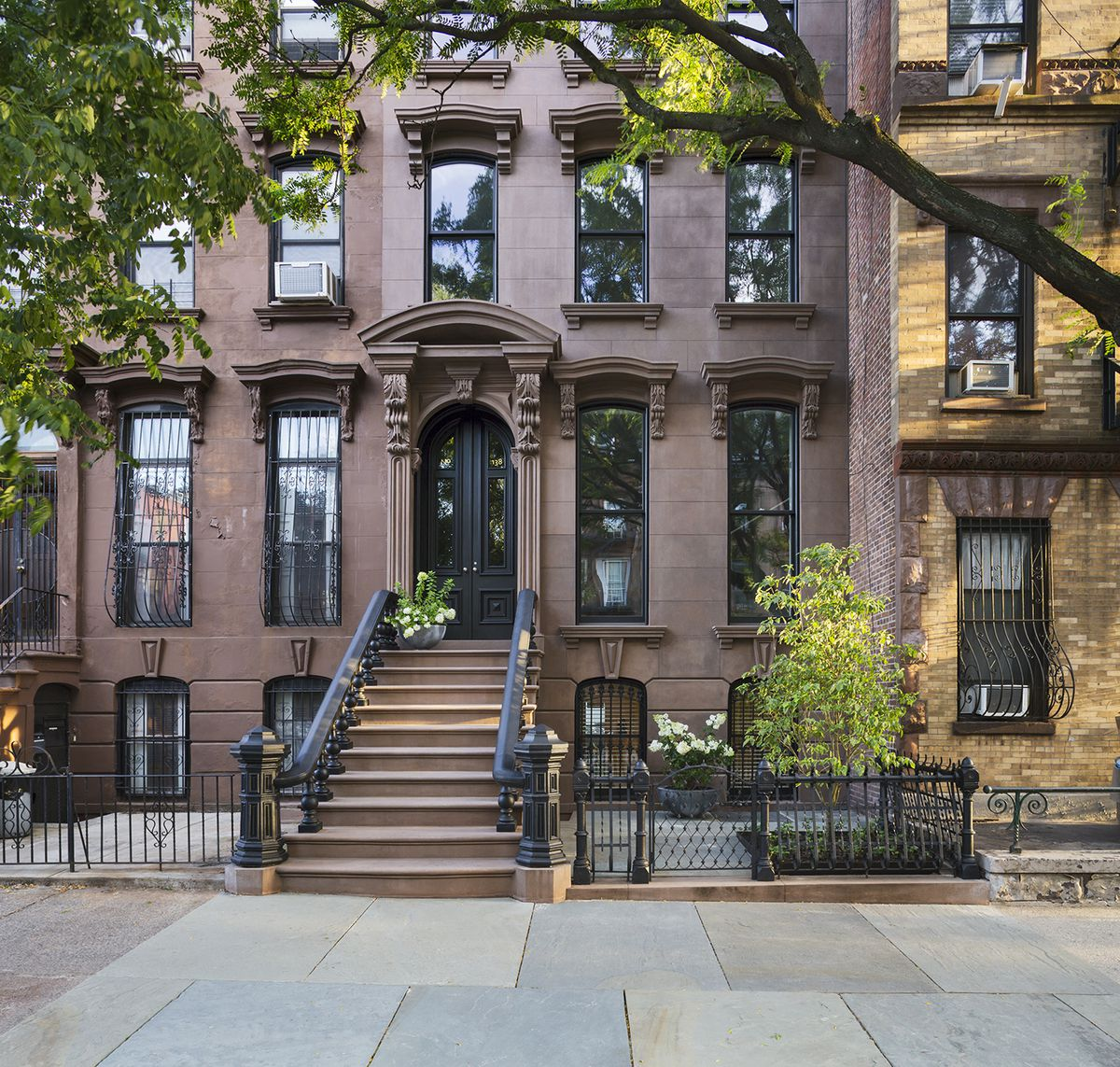 The restored brownstone exterior.