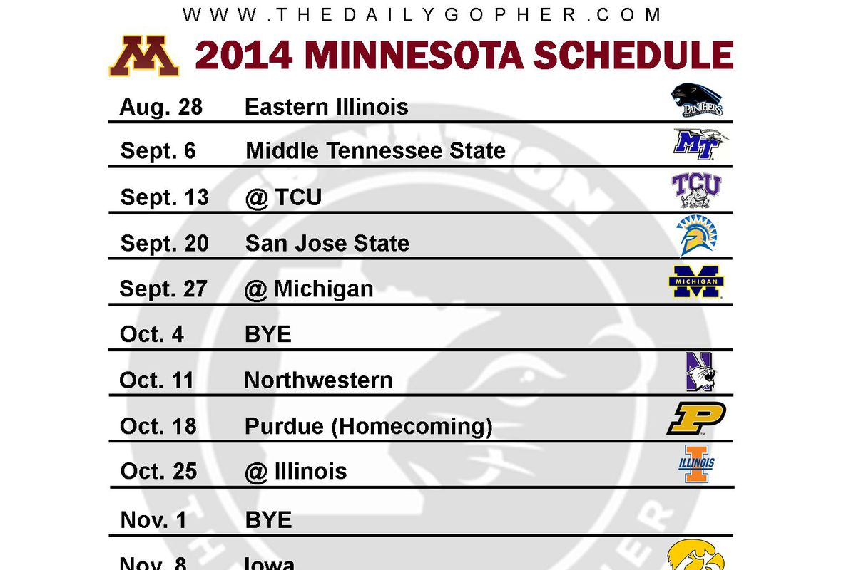 printable minnesota gophers football schedule 2014 - the daily gopher