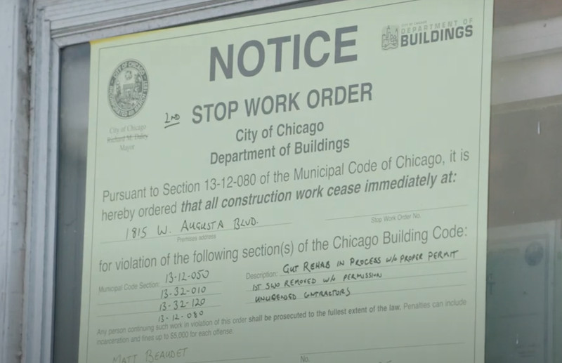 "A stop work order from Chicago's Department of Buildings throws a huge wrench in Alison Victoria's plans on ""Windy City Rehab."""