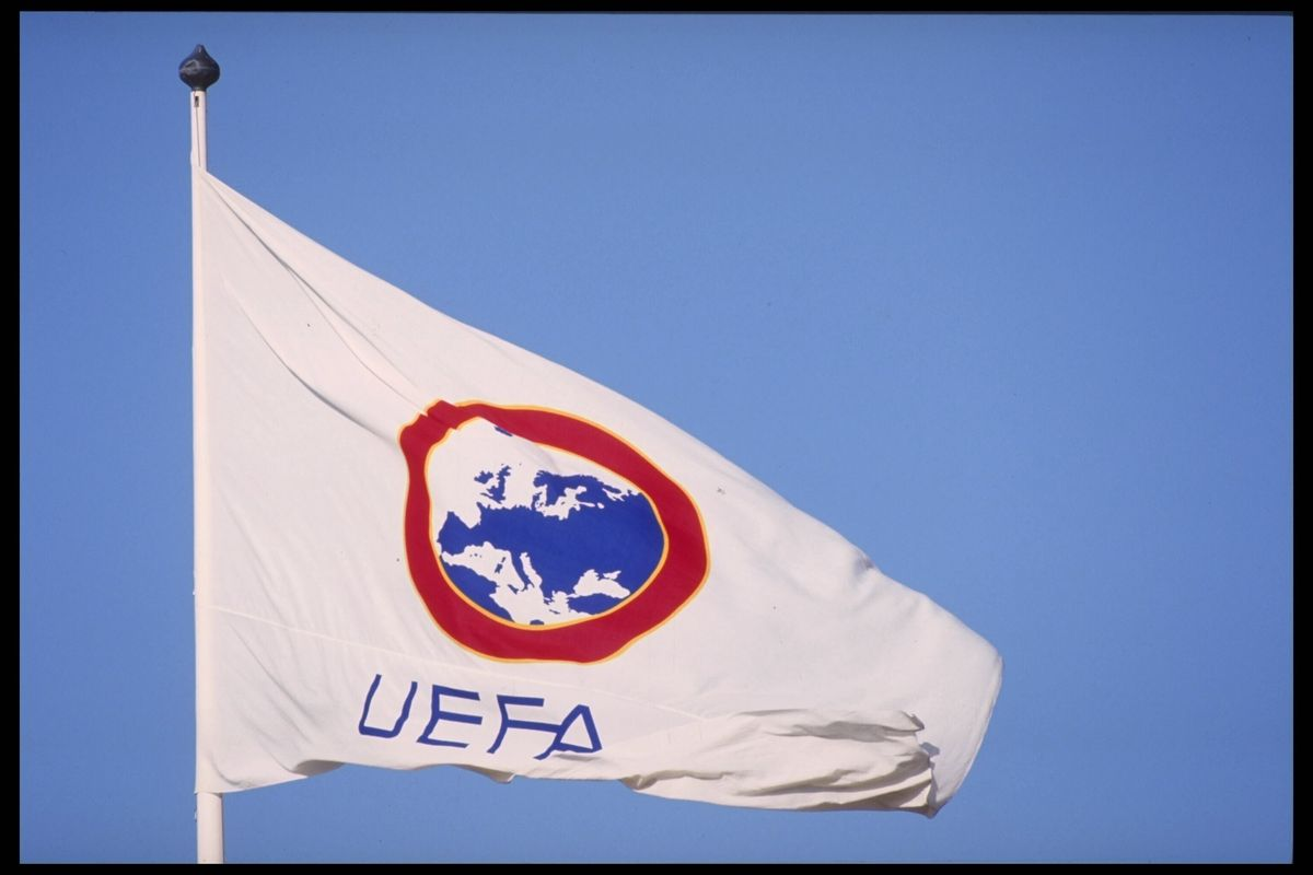 1990:  The flag of the U.E.F.A nations.