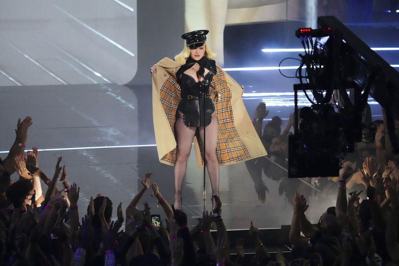 Madonna appears at the MTV Video Music Awards at Barclays Center on Sunday, Sept. 12, 2021, in New York.