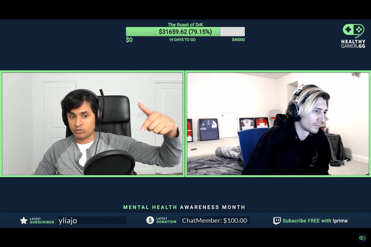 dr k speaking on video with xqc