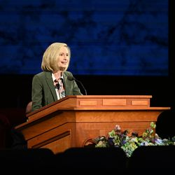 Sister Bonnie H. Cordon, Young Women general president of The Church of Jesus Christ of Latter-day Saints, speaks during the Sunday morning session of the 190th Annual General Conference, televised from the Church Office Building in Salt Lake City on Sunday, April 5, 2020.