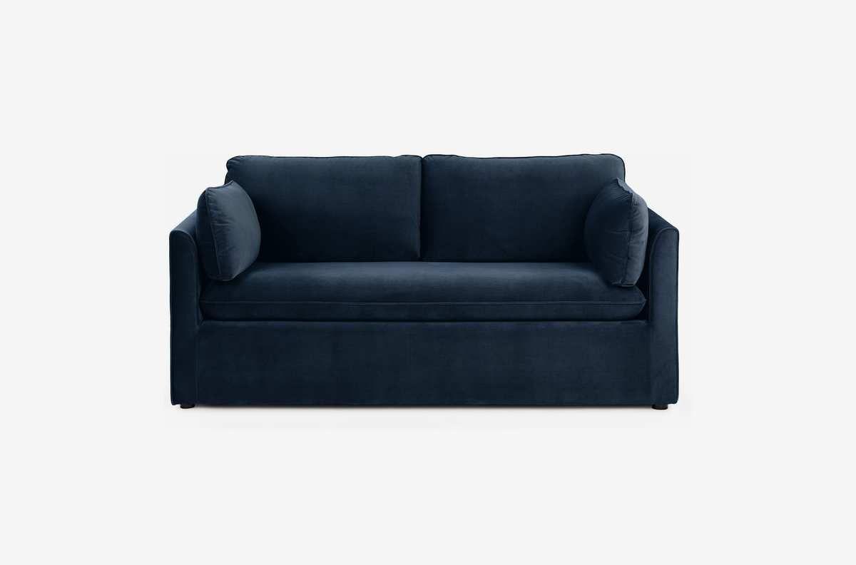 Dark blue sofa.