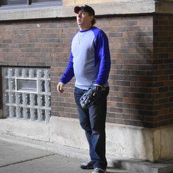 9:11 p.m. Ballhawk Dave Davison watching the sky for balls -