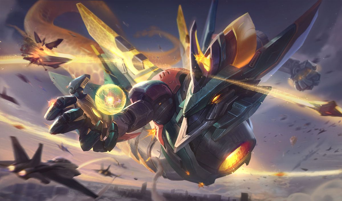 Mecha Aurelion Sol zooms in, ready to destroy a bunch of fighter jets around him