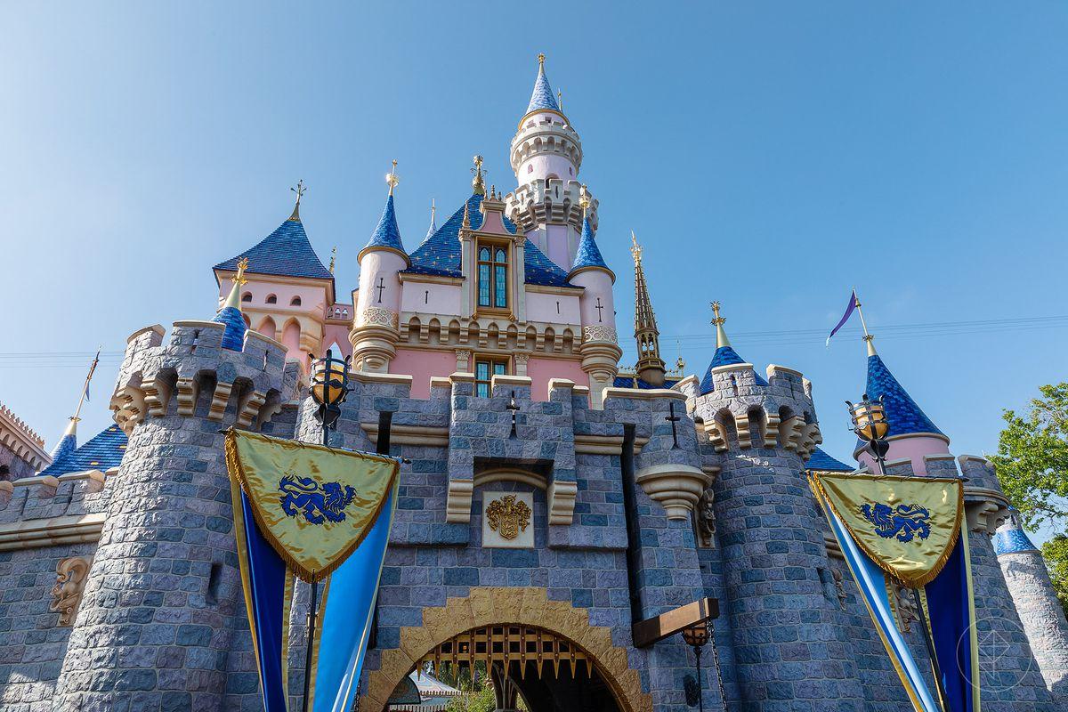 A high-res shot of Cinderella's castle at Disneyland in Anaheim, California