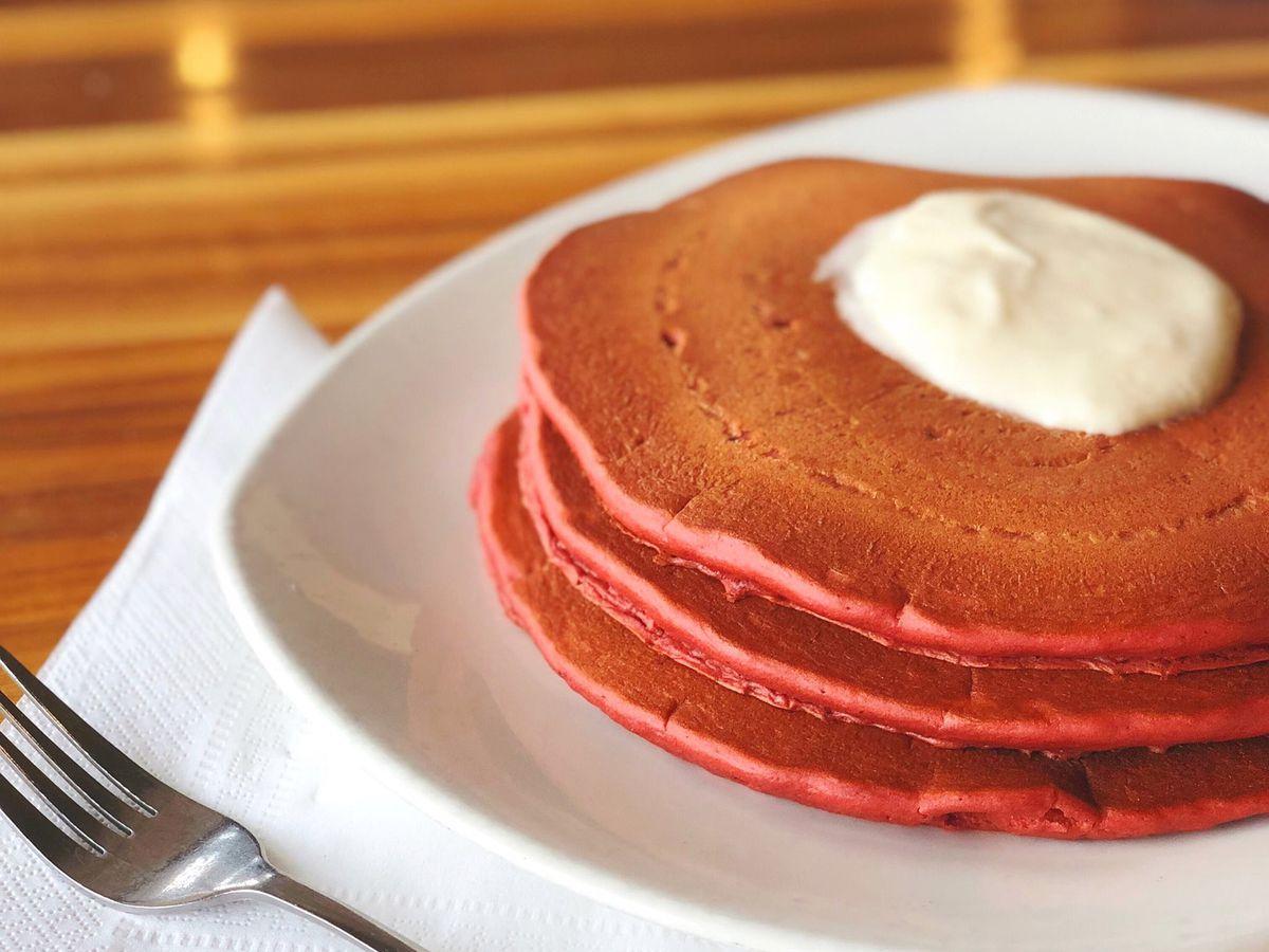 Red velvet pancakes from Kerbey Lane Cafe