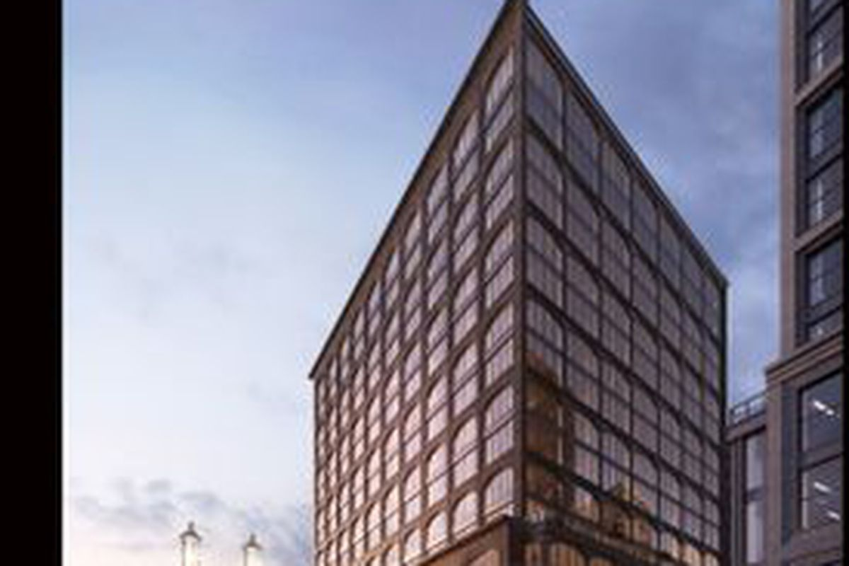 Rendering of a new office building at dusk.