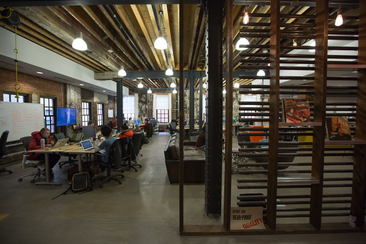 Detroit Labs has a beautiful multistory industrial-chic office.