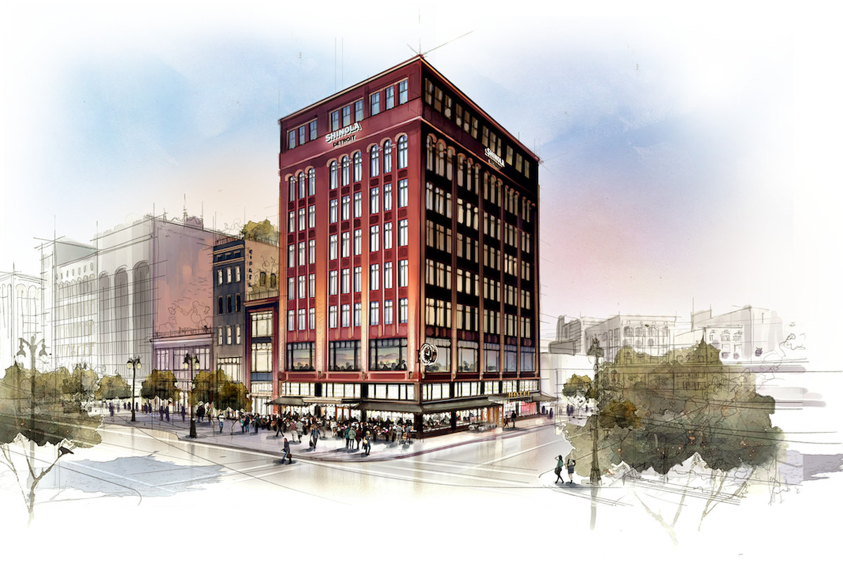 A rendering of Shinola's forthcoming hotel complete with a clock.