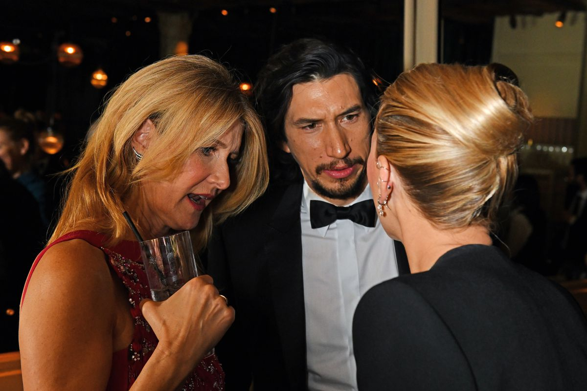 Laura Dern, Adam Driver and Scarlett Johansson pose the Netflix BAFTA after party at Chiltern Firehouse on February 2, 2020 in London, England.