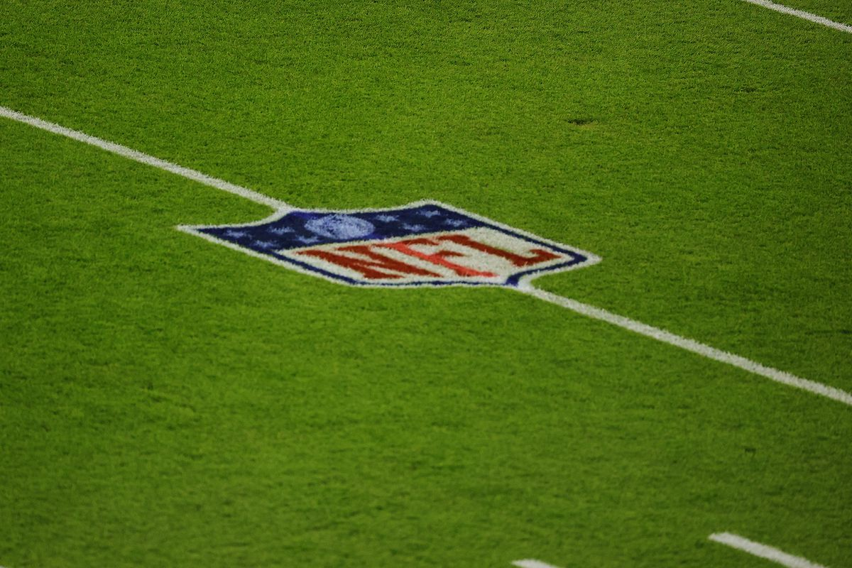 A general view of the NFL logo prior to a game between the Green Bay Packers and the Chicago Bears at Lambeau Field on November 29, 2020 in Green Bay, Wisconsin.