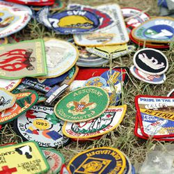 Boy Scout patches are available for trading at the National Scout Jamboree at Fort AP Hill in Virginia Tuesday. Scouts from Utah are attending the event.