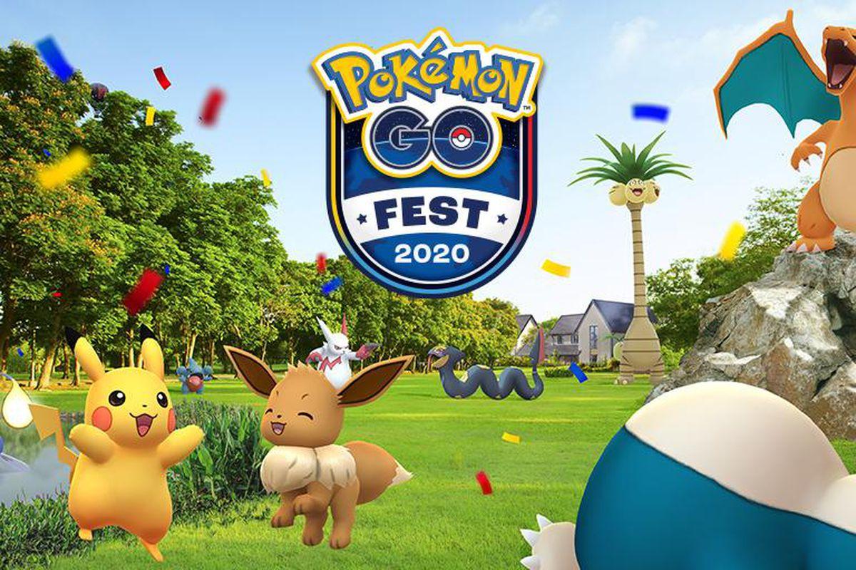 A bunch of Pokémon celebrate outside around the Pokémon Go Fest logo