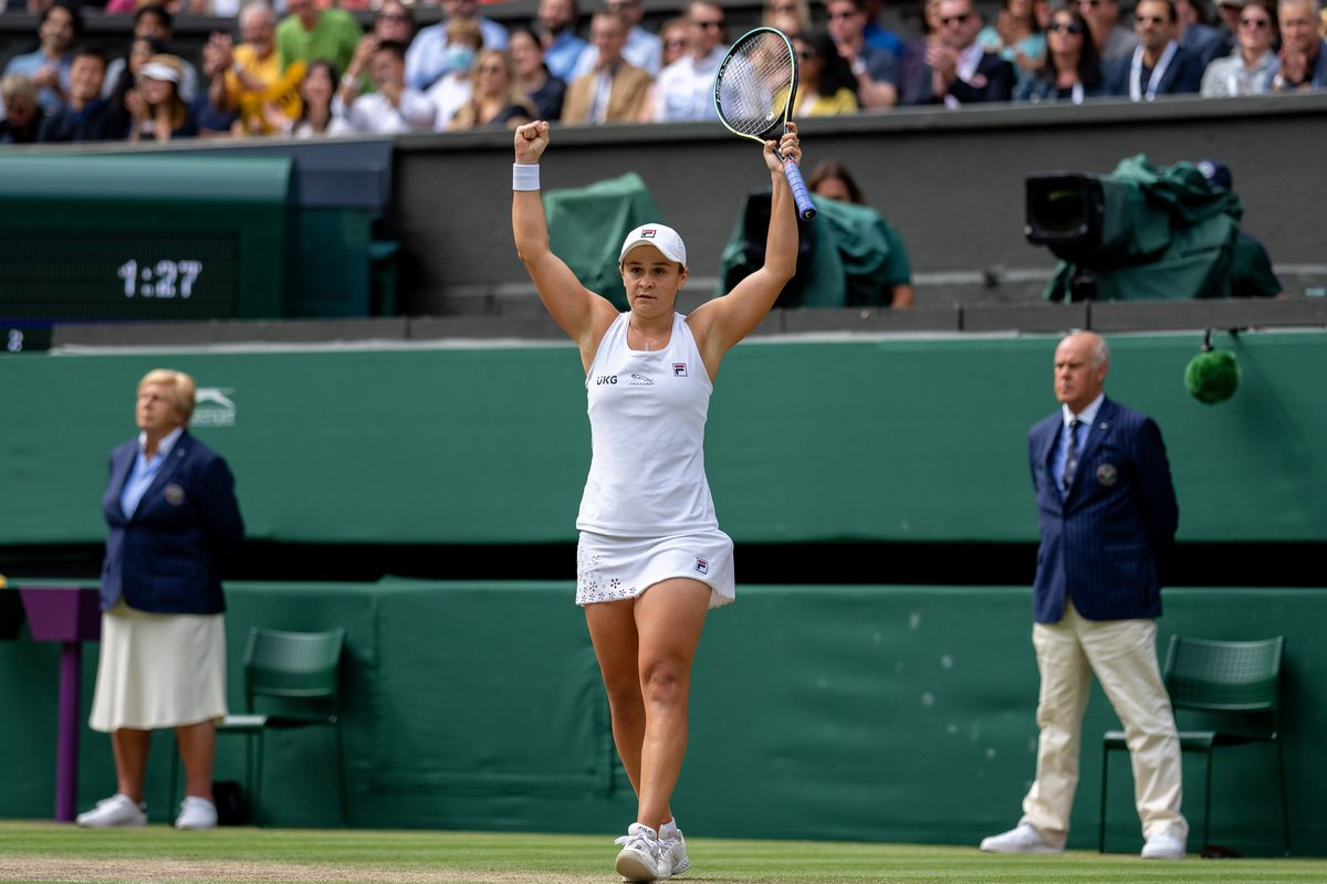 Ashleigh Barty of Australia celebrates victory after winning her Ladies' Singles Semi-Final match against Angelique Kerber of Germany on Day Ten of The Championships - Wimbledon 2021 at All England Lawn Tennis and Croquet Club on July 08, 2021 in London, England.