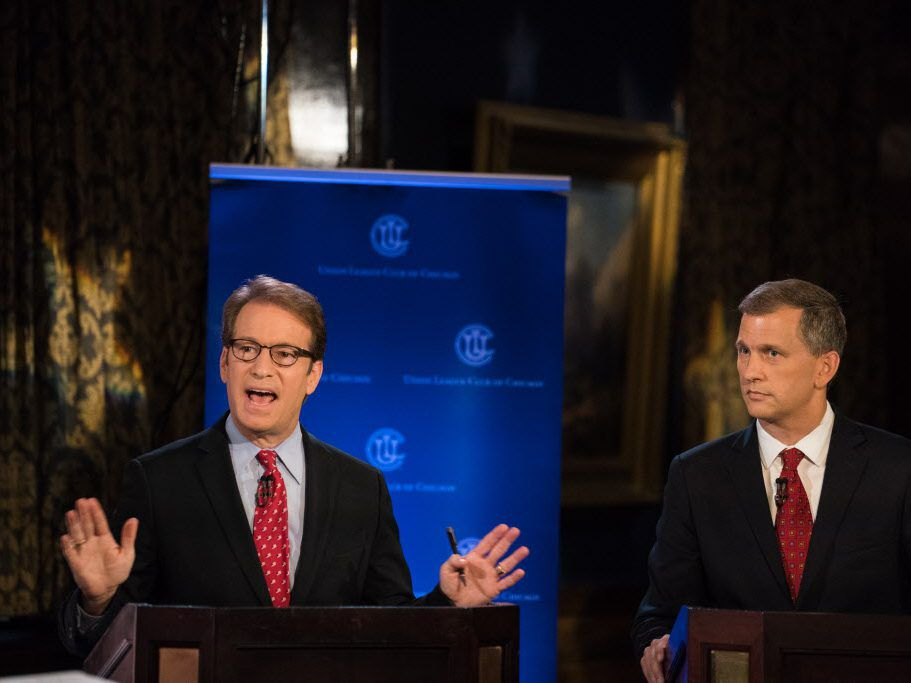 Rep. Peter Roskam participates in a debate with his Democratic challenger, Sean Casten at Union League Club of Chicago on July 26, 2018. | Max Herman/For the Sun-Times