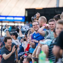 July 10, 2019 - Saint Paul, Minnesota, United States - Fans celebrate during the quarterfinal match of US Open Cup between Minnesota United and New Mexico United at Allianz Field. (Tim C McLaughlin)