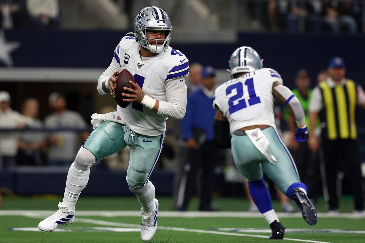 Dak Prescott #4 of the Dallas Cowboys looks to pass against the Washington Redskins at AT&T Stadium on December 29, 2019 in Arlington, Texas.