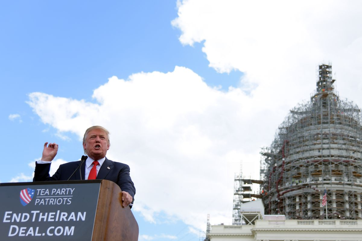 """US Republican presidential candidate Donald Trump speaks during a """"Stop the Iran Deal"""" rally at West Lawn of the Capitol in Washington, DC, September 9, 2015."""