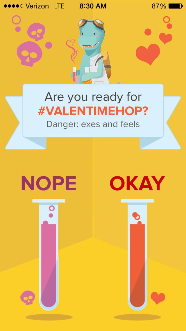 timehop valentine's warning