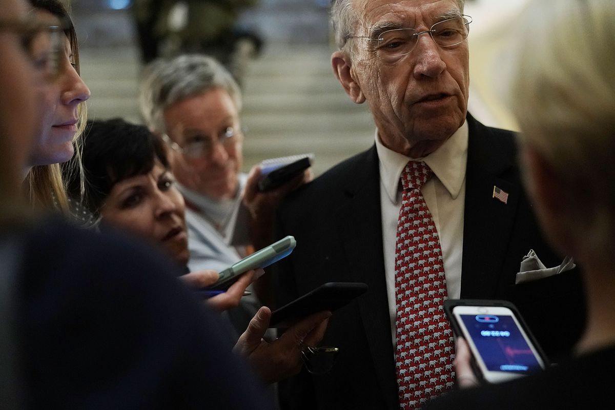 Sen. Chuck Grassley speaks to reporters on Capitol Hill after the Brett Kavanaugh cloture nomination in October 2018.